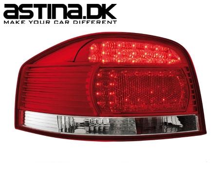 Audi A3 8P Baglygter LED New Design Rød