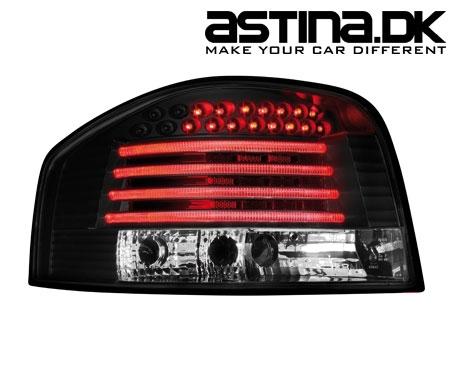 Audi A3 8P Baglygter EVO LED Sort