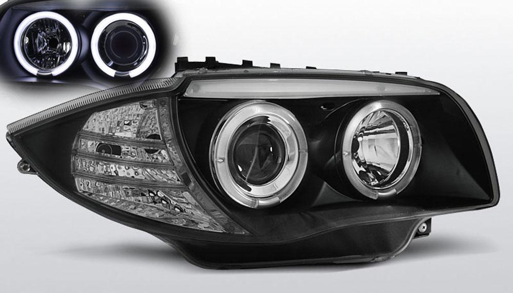 BMW 1-Serie E81 E87 Forlygter Angeleyes Sonar Sort CCFL
