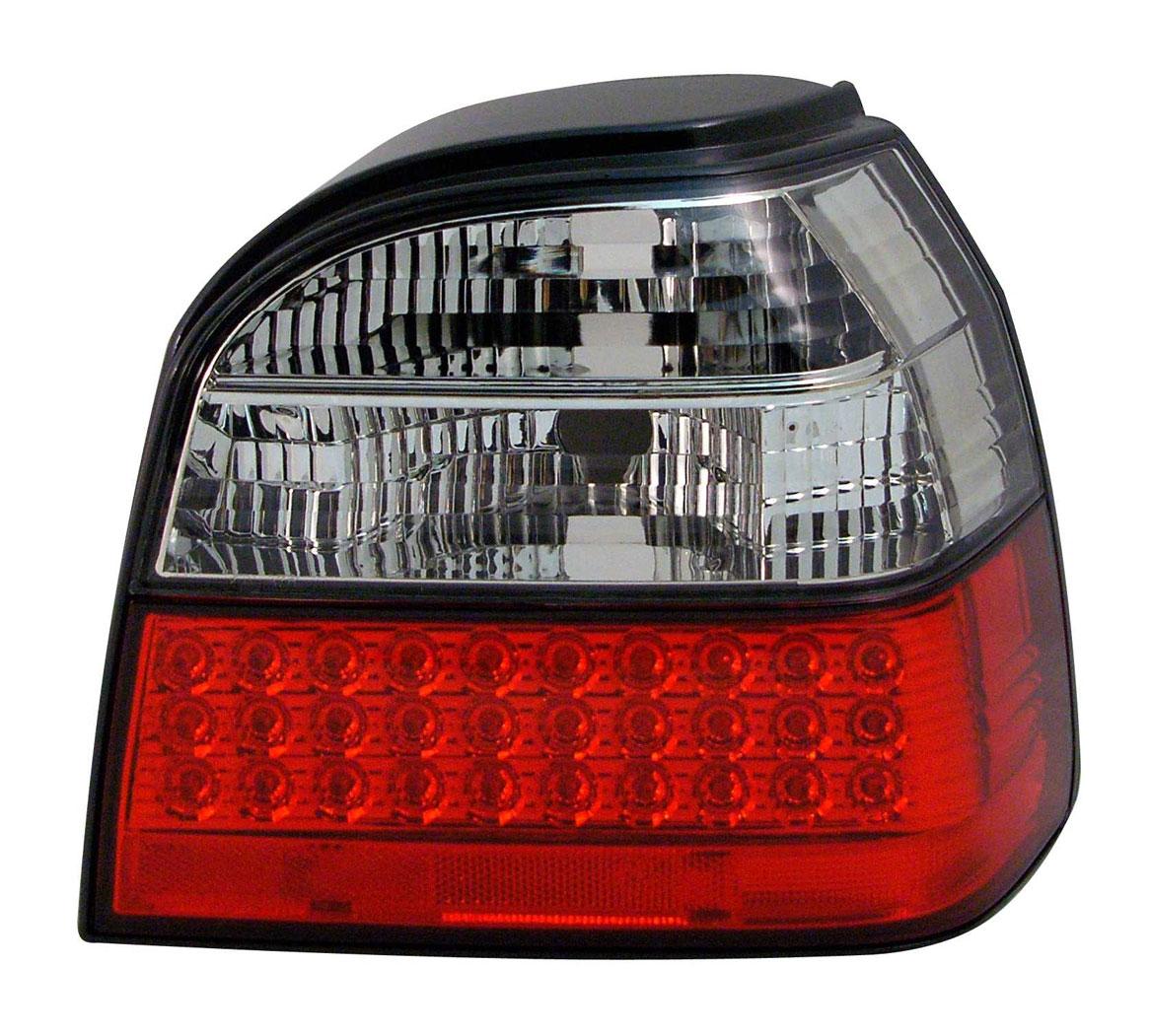 VW Golf 3 Baglygter LED Krystal OP Rød/Klar