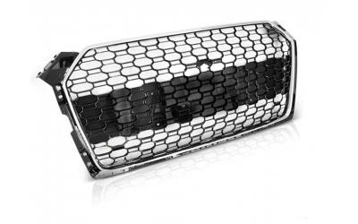 Audi A5 5F Frontgrill RS-Look Honeycomb Krom / Blanksort 19-