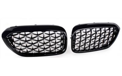 BMW 5-serie G30 G38 Frontgrill Honeycomb Blanksort / Chrom